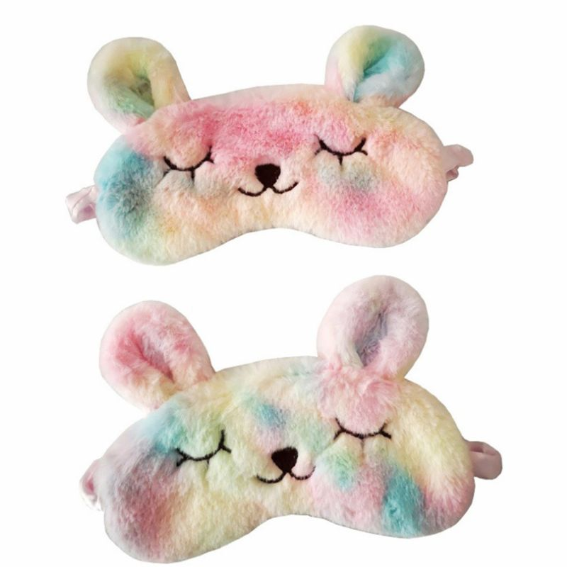 Women Cartoon Rabbit Sleeping Mask Eye Shade Embroidery Colorful Plush Blindfold  New
