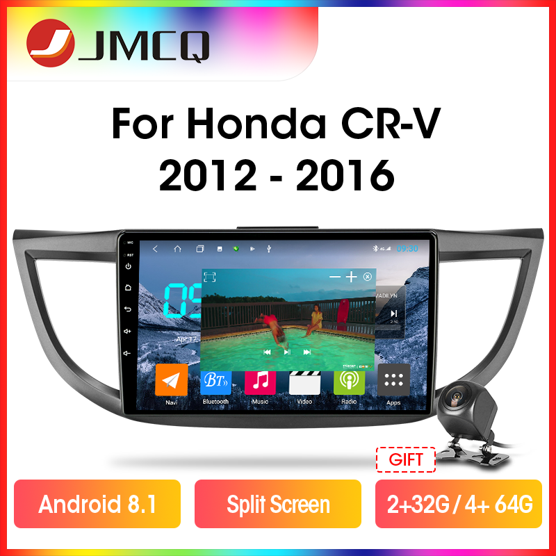 JMCQ T9 DSP RDS 4G+64G Android 9.0 Car Radio For <font><b>Honda</b></font> <font><b>CRV</b></font> CR-V 4 RM RE <font><b>2012</b></font>-2016 2 din GPS Navigaion <font><b>Multimedia</b></font> Video Player image