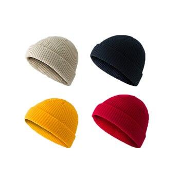 Nueva gorra corta de melón tejida de Invierno para mujer, gorra holgada de Color sólido para pescador de esquí Retro, boina, sombrero de muelles