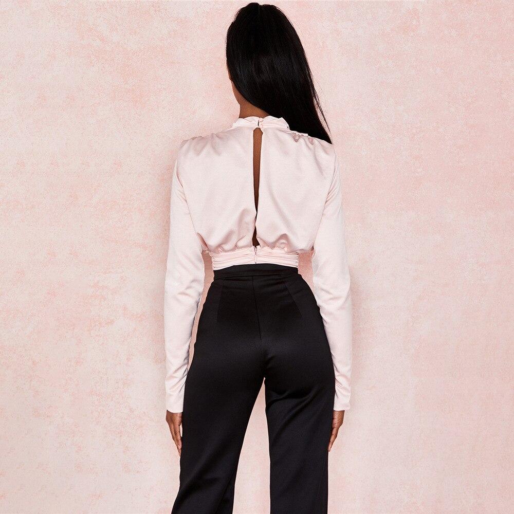 Artsu Blouse Shirts Romper Bodysuits-Tops Satin Long-Sleeve Pink Elegant Mujer Women