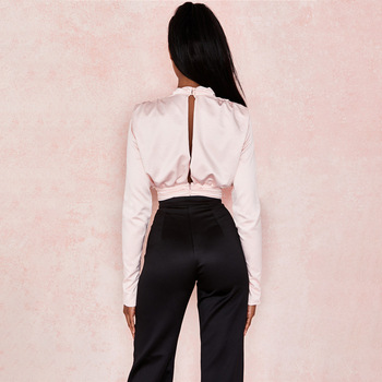 Artsu Elegant Satin Pink Blouse Long Sleeve Bodysuits Tops Women 2020 Spring New Romper Mujer Ladies Cute Shirts ASJU60703 8