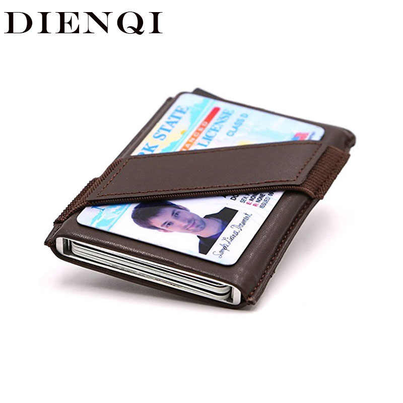 DIENQI Slim Minimalism Rfid Credit Card Holder Men Anti Blocking Minimalist Wallet Metal Aluminium Business Creditcard Holder
