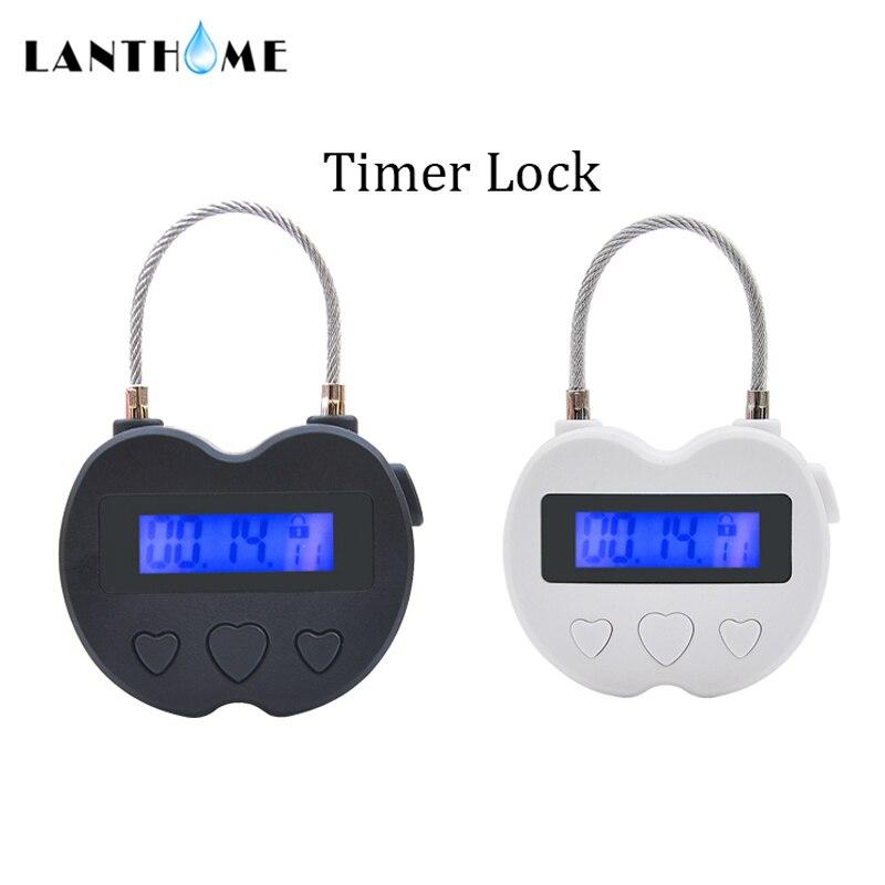 Lanthome zamek czasowy Chastity, zamek czasowy kajdanki fetysz knebel timer elektroniczny, pary Chastity Bdsm blokady Bondage