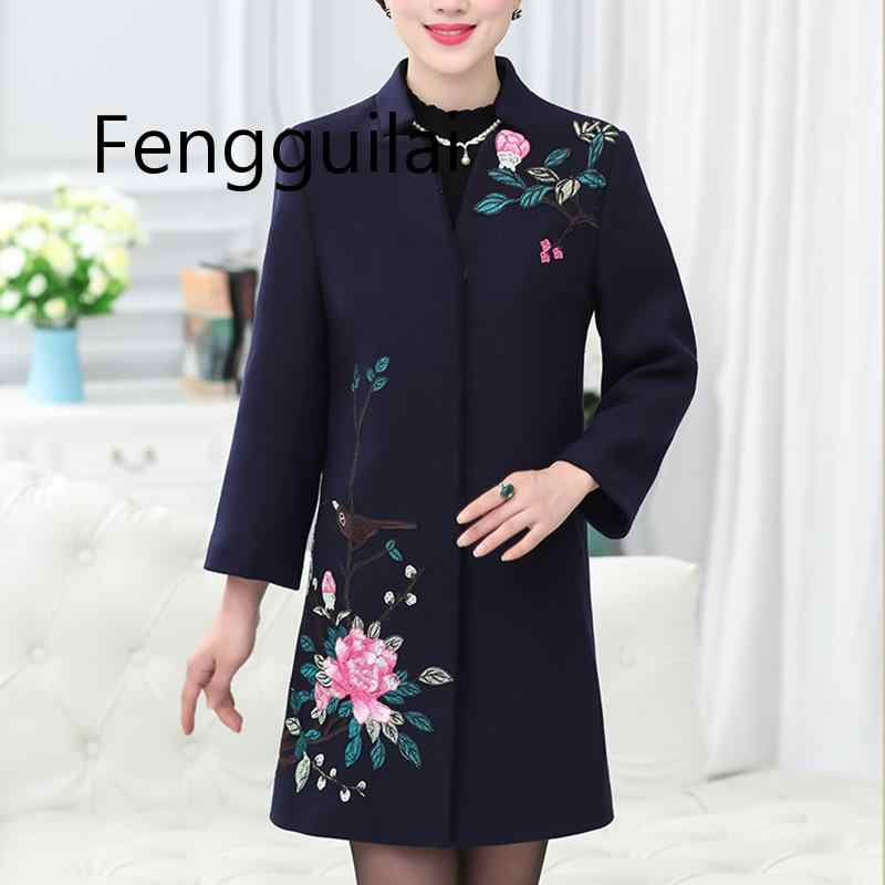 FENGGUILAI 2019 Fashion  Winter Large Size Woolen Coat Long Section Embroidered Single-breasted Cotton Coat Women Woolen Jacket