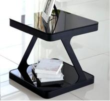 цена на Simple modern tempered glass coffee table creative living room small square tea table corner several sofa small side table small
