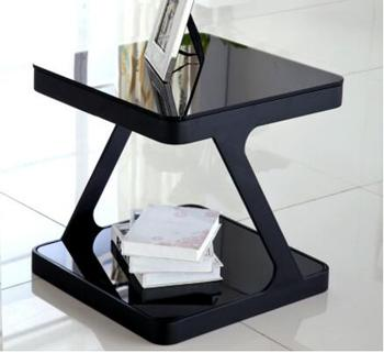 Simple modern tempered glass coffee table creative living room small square tea table corner several sofa small side table small toughened glass tea table stainless steel small square table the sofa side table flower