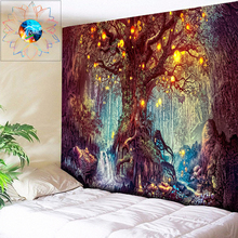 3D Tree Tapestry Wall Hanging Psychedelic Forest with Birds Wall Tapestry Bohemian Mandala Hippie Tapestry for Bedroom Wall Art
