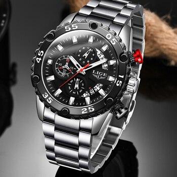 2020 LIGE New Fashion Mens Watches Sport Full Steel Watch Male Military Waterproof Men Quartz Date Clock Relogio Masculino - discount item  90% OFF Men's Watches