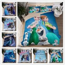 Frozen Elsa Bedding Sets Single Twin Size Pink Disney Princess Duvet Cover Sweet Girl Kids Bed Linens 3d Cartoon Home Textiles