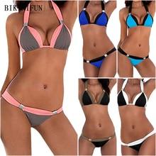 купить New Sexy Solid Patchwork Bikini Women Swimsuit Backless Halter Swimwear S-3XL Girl Plus Size Bathing Suit Micro Bikini Set дешево