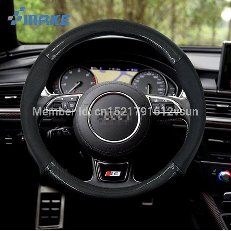 """Universal Size M 38cm15/"""" Carbon Fiber Car Steering Wheel Cover For Ford Series"""