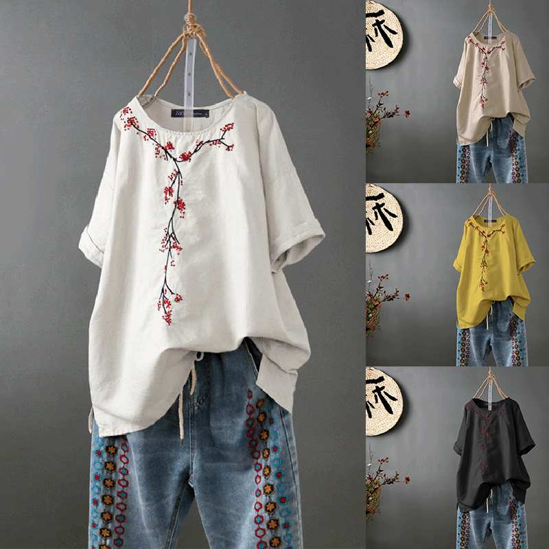 ZANZEA Oversized Women Blouse Ladies Casual Half Sleeve Tunic Tops Female Vintage Embroidery Shirt 2019 Autumn Womens Shirts 5XL