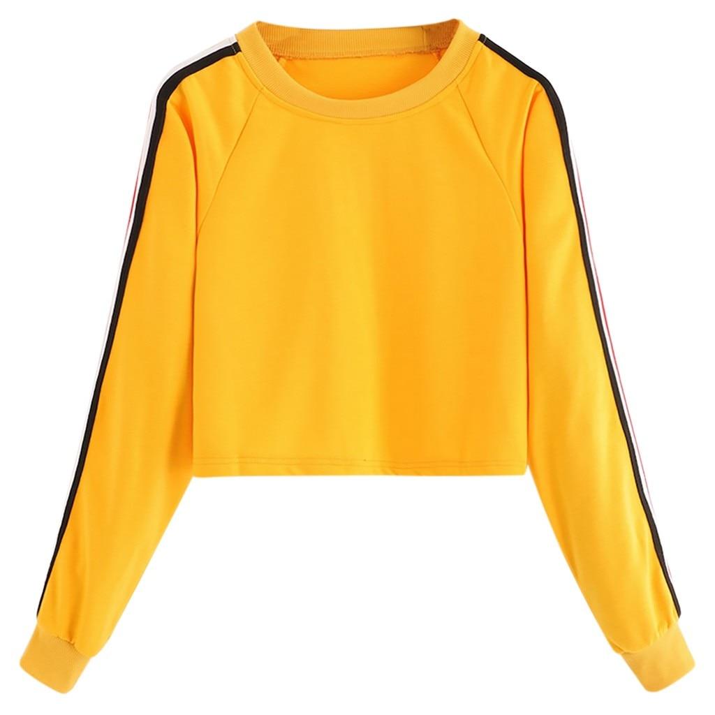 Jaycosin Fashion Autumn Casual Female Loose Stripe Solid Color Sweatshirt Long Sleeve Comfortable Jumper Pullover Blouse 14#10