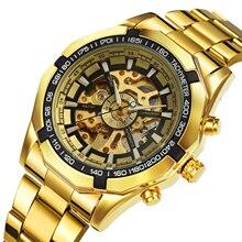 זוכה הרשמי הקלאסי אוטומטי שעון גברים שלד מכאני Mens שעונים למעלה מותג יוקרה זהב נירוסטה רצועה