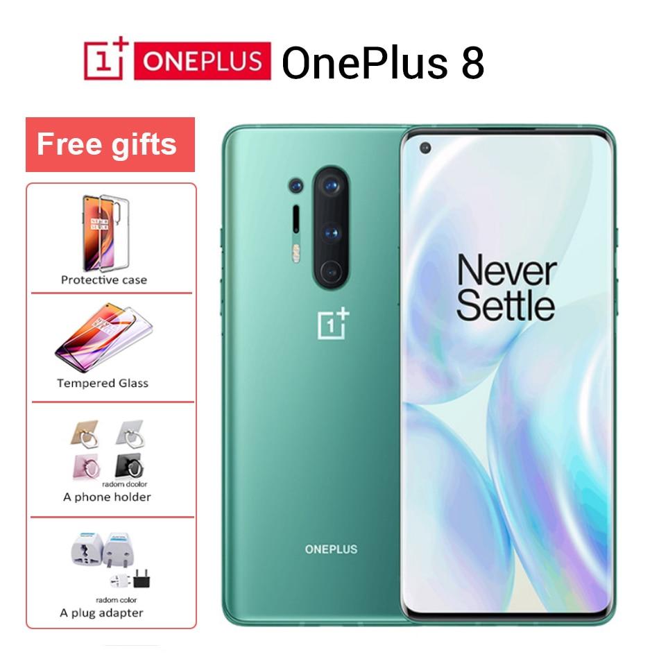 Original Oneplus 8 5G Mobile Phone 8GB 128GB Global firmware Snapdragon 865 6.55'' 48MP 30W 4300mAh NFC 12GB 256GB Smartphone