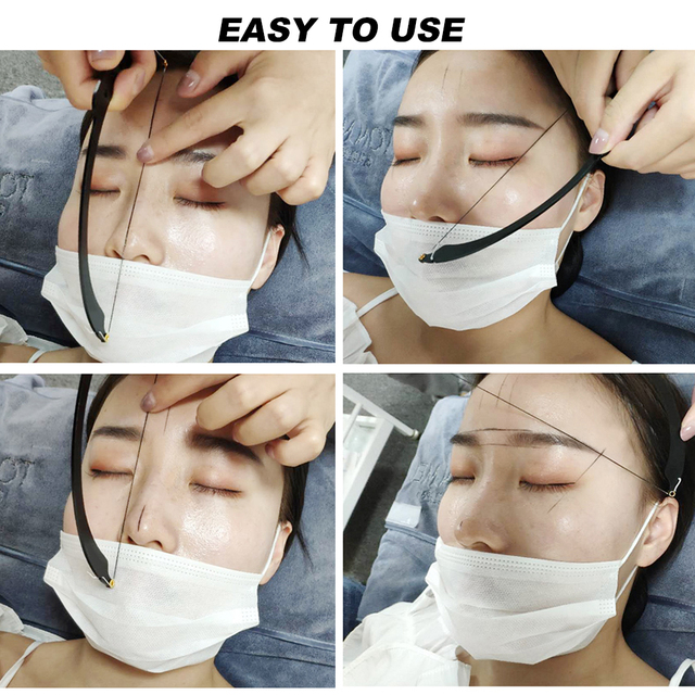 Safe Thread Semi Permanent Dyeing Liners Positioning Measuring Tool Bow Ruler Make Up Microblading Auxiliary Mapping Eyebrow 4