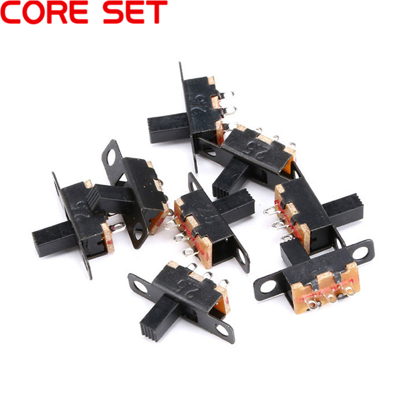 <font><b>10</b></font>/20pcs <font><b>50V</b></font> 0.5 A Mini Size Black SPDT Slide Switch for DIY Power Electronic Projects SS12F15 G6 1P2T Toggle Switch Handle 6mm image