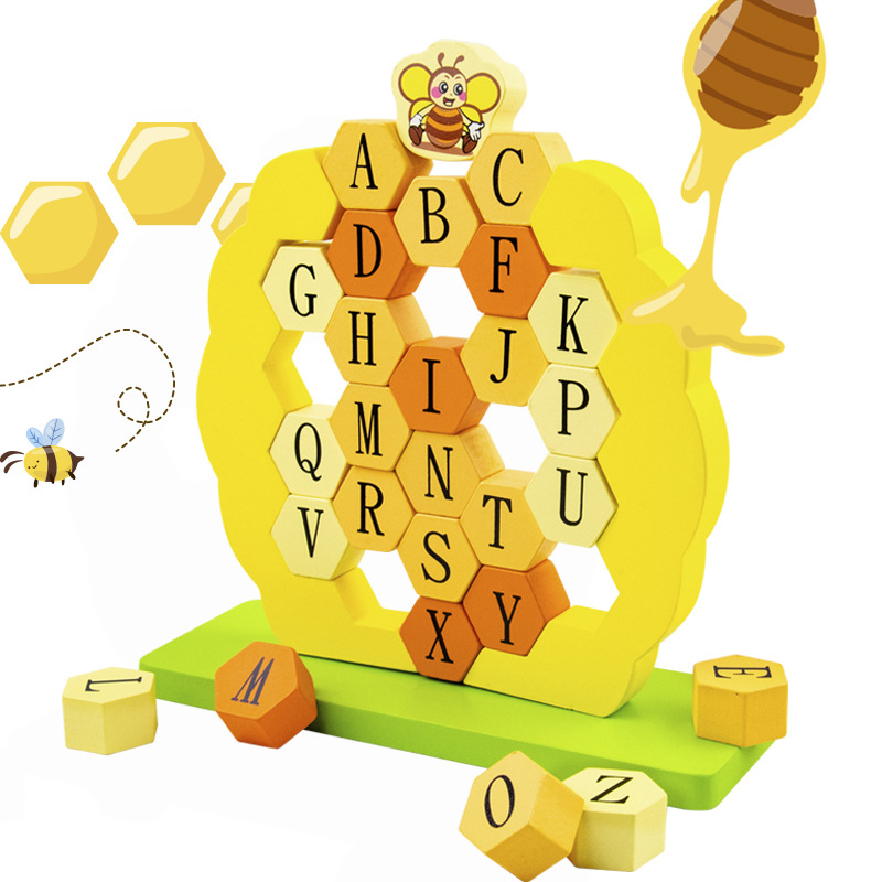 Kids Wooden Toy Building Block Bee demolition wall 26 letters Stack Blocks Brick Toys Table Game Early Educational Kids Gifts