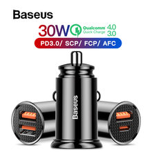 Baseus 30W Quick Charge 4.0 3.0 USB Car Charger สำหรับ iPhone 11 Huawei Supercharge SCP QC4.0 QC3.0 Fast PD USB C Car Charger โทรศัพท์(China)