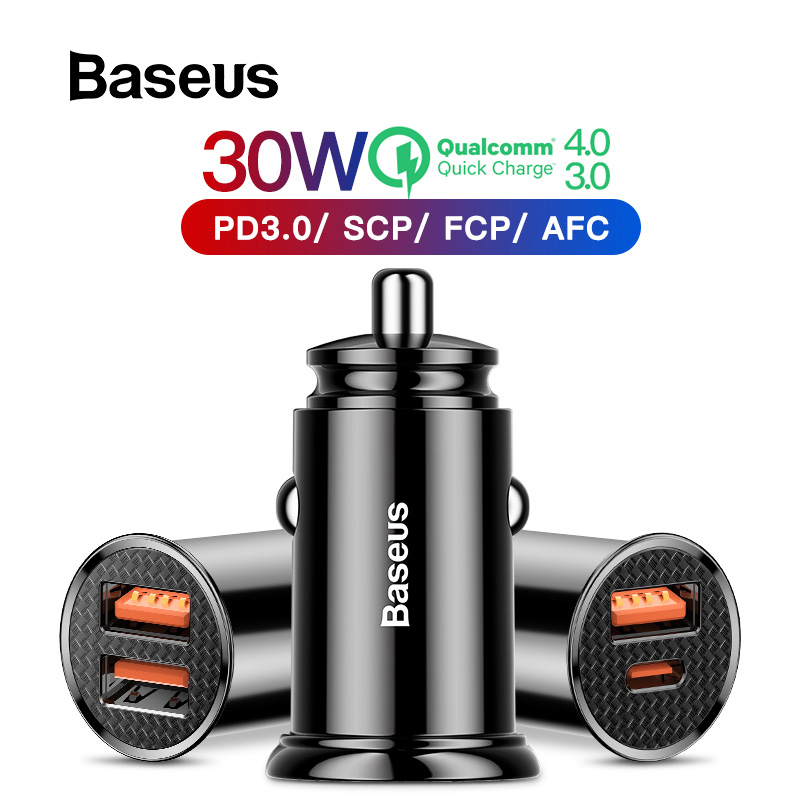 Baseus 30W Quick Charge 4.0 3.0 USB Car Charger For iPhone 11 Huawei Supercharge SCP QC4.0 QC3.0 Fast PD USB C Car Phone Charger