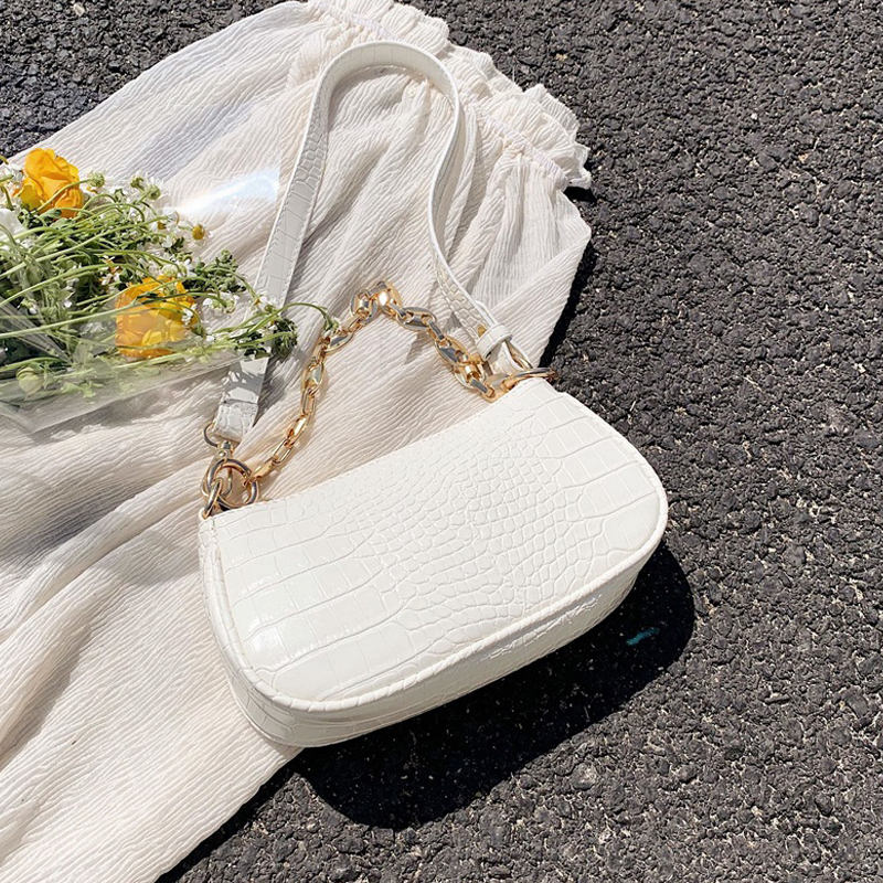 Moda çanta baguette me model krokodili çanta prej lëkure mini PU - Çanta dore - Foto 4