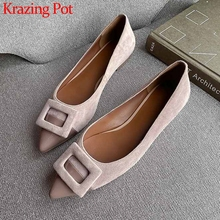 Shoes Genuine-Leather Slip On Pointed-Toe Comfortable Flat Hot-Fashion with Elegant Women