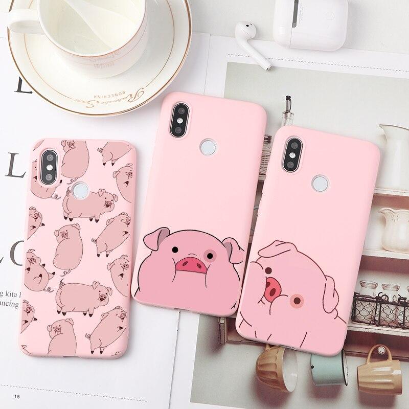 Cartoon Pig Soft TPU Cases For Xiaomi Redmi 9 A3 Mi Note 9 Pro Max 10 8 7 6 5 8T 9 K30 K20 Pro CC9e CC9 A2 6X 8A 6A 7A Lite Case(China)