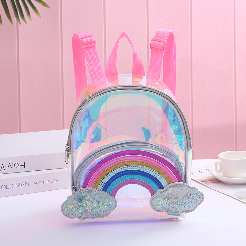 Cartoon Rainbow Unicorn PVC Transparent Backpack For Children Plush Kindergarten Small SchoolBag Girls School Bags Mini Backpack