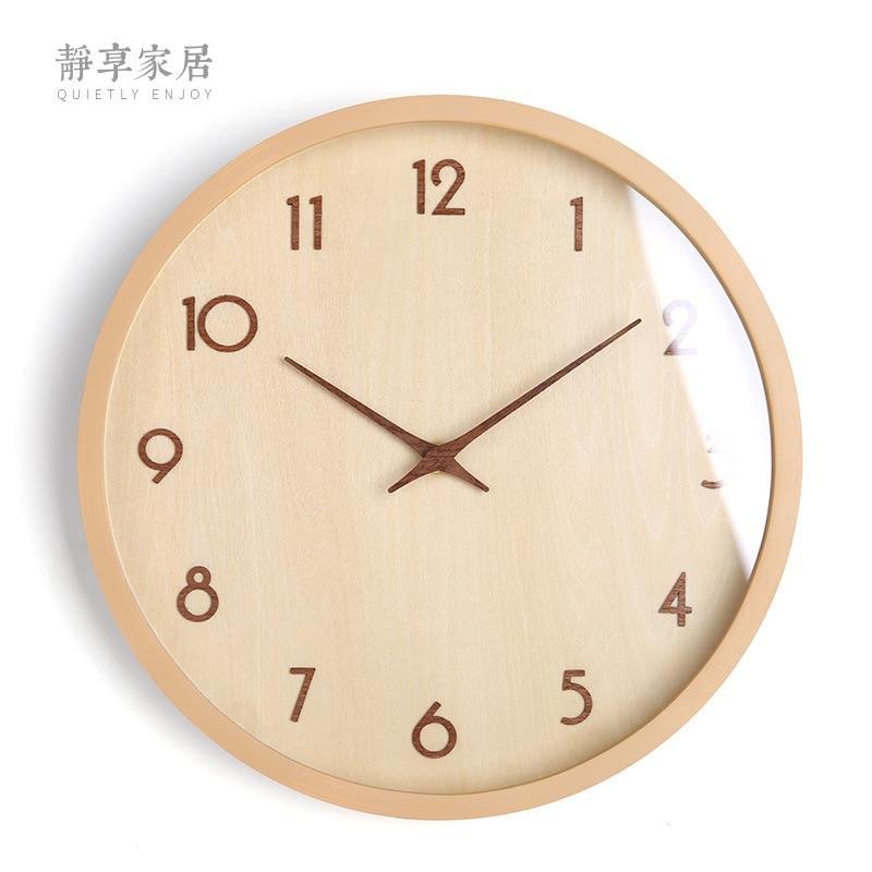 Nordic Wood Wall Clock Modern Design Silent Watch Wall Large Wall Clocks Home Decor Big 3d Kitchen Clock Duvar Saati Gift FZ744