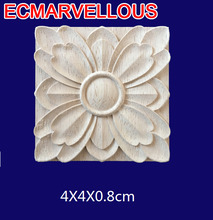 ECM#BAO2 Small square flower piece solid applique joint European plate wood carved Roman column head patch furniture accessories