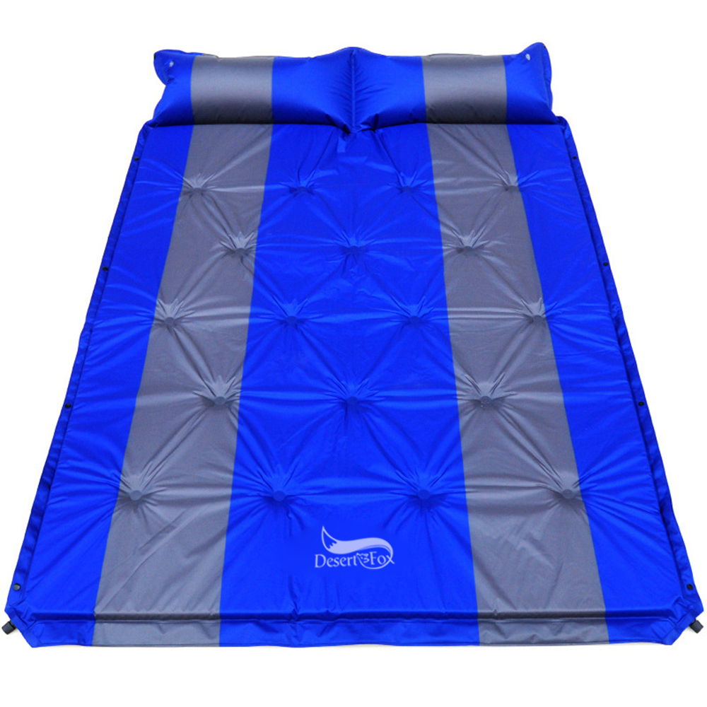 Desert&Fox 2 Person Air Mattress Self-inflating Tent Sleeping Mat Attached Air Pillow Inflatable Camping Sleeping Mattress Pad