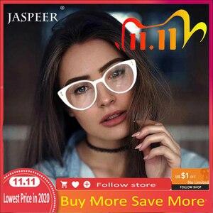 JASPEER Cat Eye Glasses Frames Women Brand Designer Ladies Eye Glasses Frames Men Eyeglasses Optical Frames Lens Cusomized