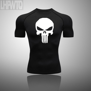 Shirt Homme Running Men Punisher Skull Quick Dry T-Shirts Running Slim Fit Tops Tees Sport Men #8217 s Fitness Gym T Shirts Muscle Tee tanie i dobre opinie LHPWTQ Wiosna Lato AUTUMN Poliester Pasuje mniejszy niż zwykle proszę sprawdzić ten sklep jest dobór informacji This is an Asian size usually 1 size smaller than the European size