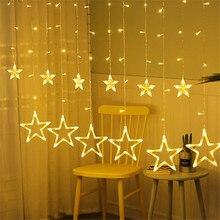 цена на 3.5m 128 Leds Icicle Led Star Fairy Lights Garland Curtain String Lights Star Lamp New Year Wedding Christmas Decoration