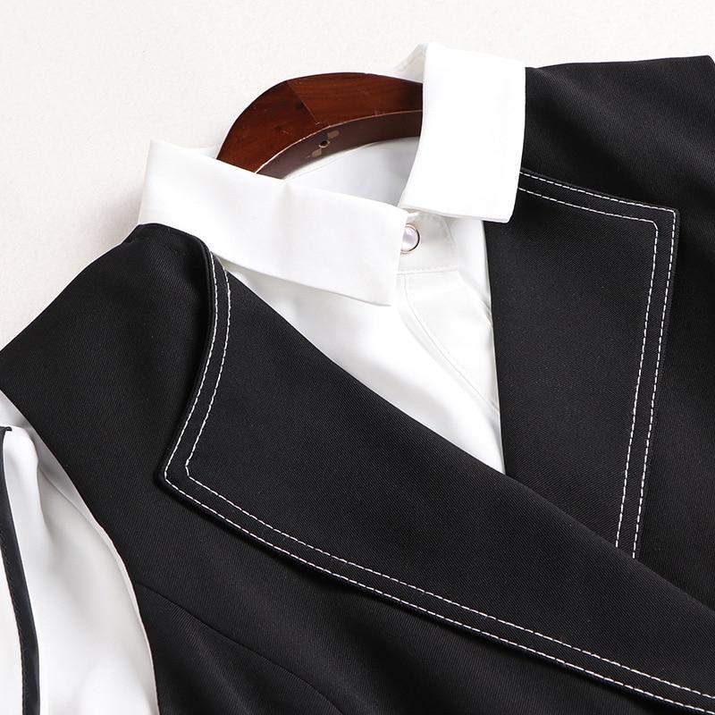 Women Dress Set 2020 Spring New Fashion Turndown collar Long sleeve Shirt + Black Vest Dress Two piece Set - 3
