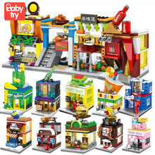 Sembo Street Views Educational Blocks Pizza Seafood Store Xmas Gift Legoing Shop City Building Blocks Toys for Children No Box hsanhe new street store plastic building blocks mini shop architecture dinosaur museum educational brinquedos for kids xmas gift