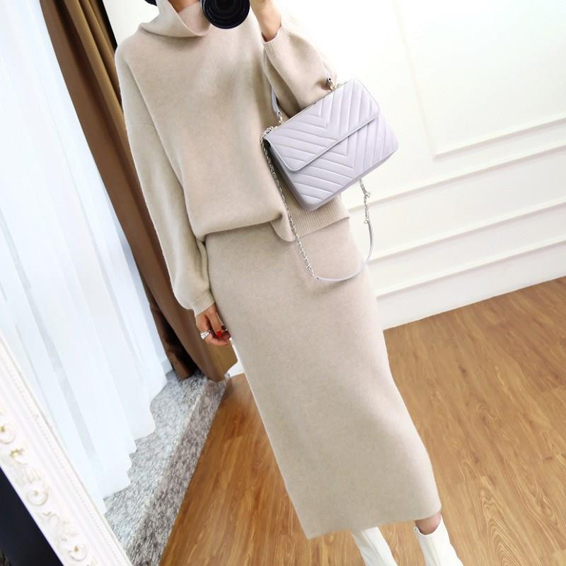 2019 Autumn High Collar Cashmere Sweater Lady Runway Knitting Skirt Suit Solid Korean Women's Knitted Two Piece Set