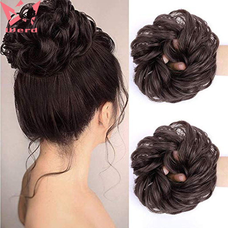 WERD Messy Doughnut Pad Elastic Hair Rope Rubber Band Hair Extension Natural Hair Ring High Temperature Chemical Fiber Synthesis