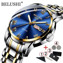 BELUSHI Business Mens Watches Famous Brand Luxury Big Dial Male Watch Waterproof Quartz Gold Watch Men montre homme 2021