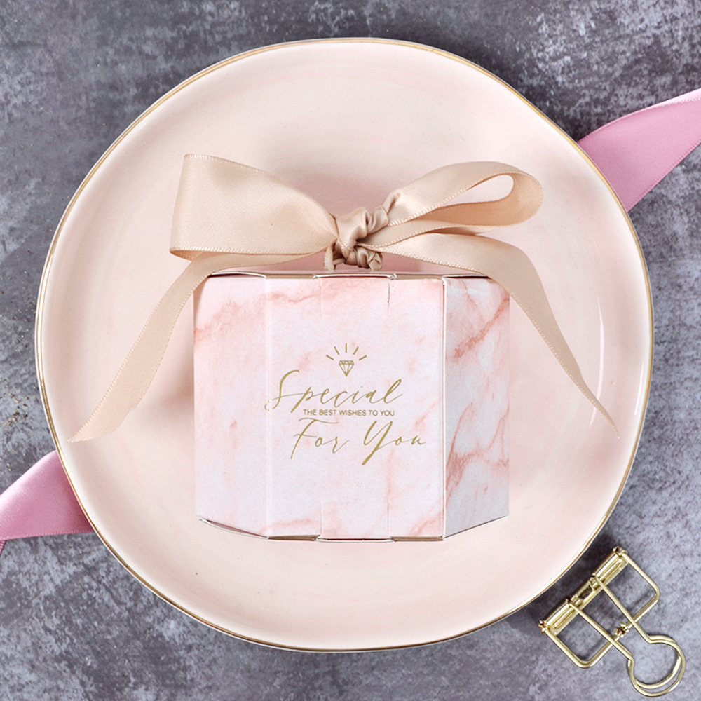 New Hexagon Pink Marbling Candy Boxes Special For You Paper Gift Box For Wedding Decoration Baby Shower Chocolate Packaging