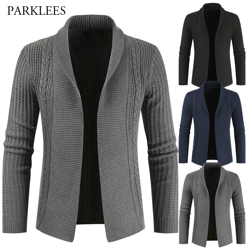 Solid Color Cardigan Sweater Men Turn Down Collar Mens Knitted Sweaters Coat Casual Slim Fit Twist Braided Pull Homme Knitwear