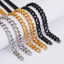 Misheng 2019 Trend Mens Stainless Steel Necklace Cuban Chain 10mm Wide Hip Hop Jewelry Black Silver Gold Accessories
