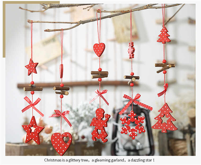 DIY Red Christmas Snowflakes&Star&Tree Wooden Pendants Ornaments Home Christmas Party Xmas Tree Kids Gifts Decorations F823