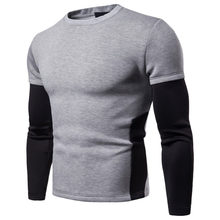2020 Autumn Cotton Men Pullover Full Sleeve Sweatshirt One Piece Patchwork O-Neck Pullover Tops Male Teenager Loose Fit Moletom(China)