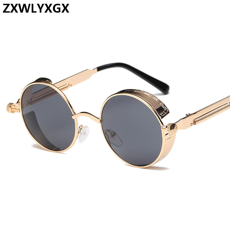 ZXWLYXGX Round Metal Sunglasses Steampunk Men Women Fashion Glasses Brand Designer Retro Vintage Sunglasses UV400
