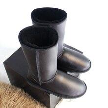 G & Zaco Alti Al Ginocchio Genuino Stivali di pelle di Pecora Scarpe di Cuoio Da Neve Delle Donne di Avvio di Lana di Pecora Stivali Stivali Lunghi Nero Piatto inverno Scarpe 42