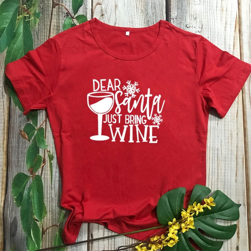 VIP HJN Dear Just Santa Bring <font><b>Wine</b></font> Drink Christmas Female Clothing Cotton Women <font><b>Red</b></font> T-<font><b>shirt</b></font> Fashion Harajuku image