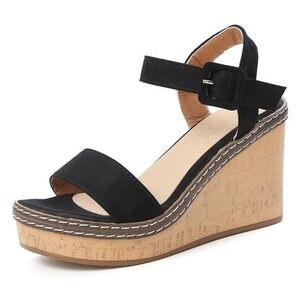 Image 5 - النساء سوبر عالية الصنادل أحذية منصة الصيف امرأة المصارع نمط أسافين المفتوحة تو أنثى موضة الأحذية SH030809