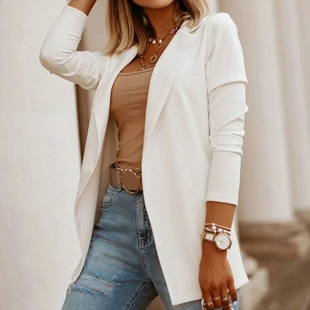2020 Autumn Office Ladies Blazers Casual Long Sleeve Solid Formal Work Suit Fashion Women Jackets Slim Blazers