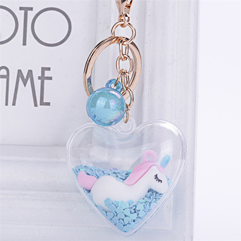 Fashion Unicorn Heart Pendant Keychain For Fantasy Girl Creative Acrylic Flash Liquid Keyring Car Key Charms Birthday Gift